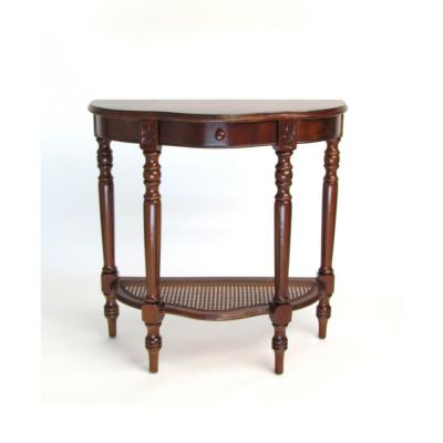 Honey Brown Caned Demi Console Table