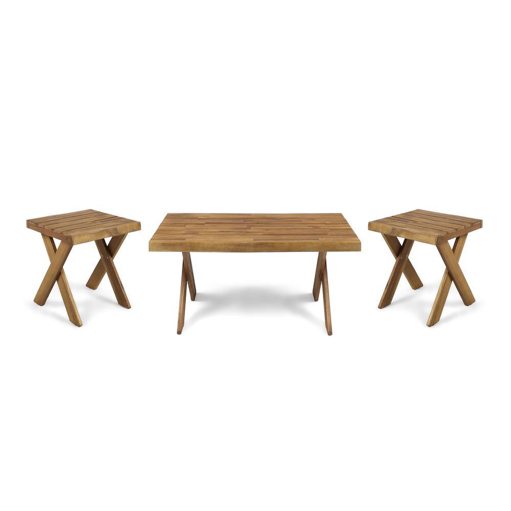 Esmeralda Indoor Farmhouse 3-Piece Teak Brown Acacia Wood Table Set