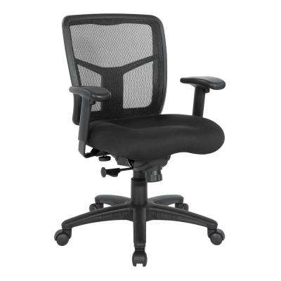 Mesh Black Managers Chair with Height Adjustment Arms, Ratchet Back and Fabric Seat