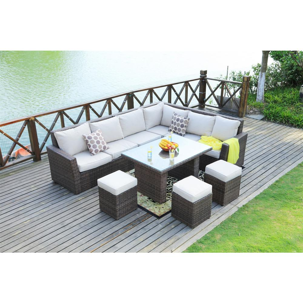 Lima Variegated 8-Piece Brown Wicker Outdoor Sectional Set with Beige Cushions