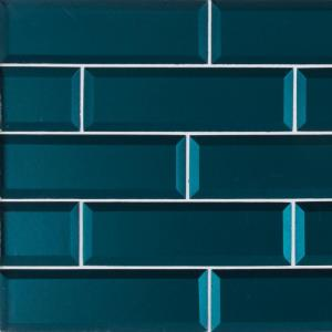 Verde Azul Beveled 2.5 in. x 9 in. x 8mm Glass Wall Tile