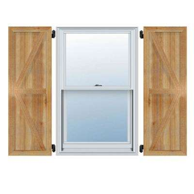 16-1/8 in. X 50 in.Timbercraft Rustic Wood Three 5-3/8 in.Framed Board and Batten Shutters with Z-Bar Rough Sawn Cedar