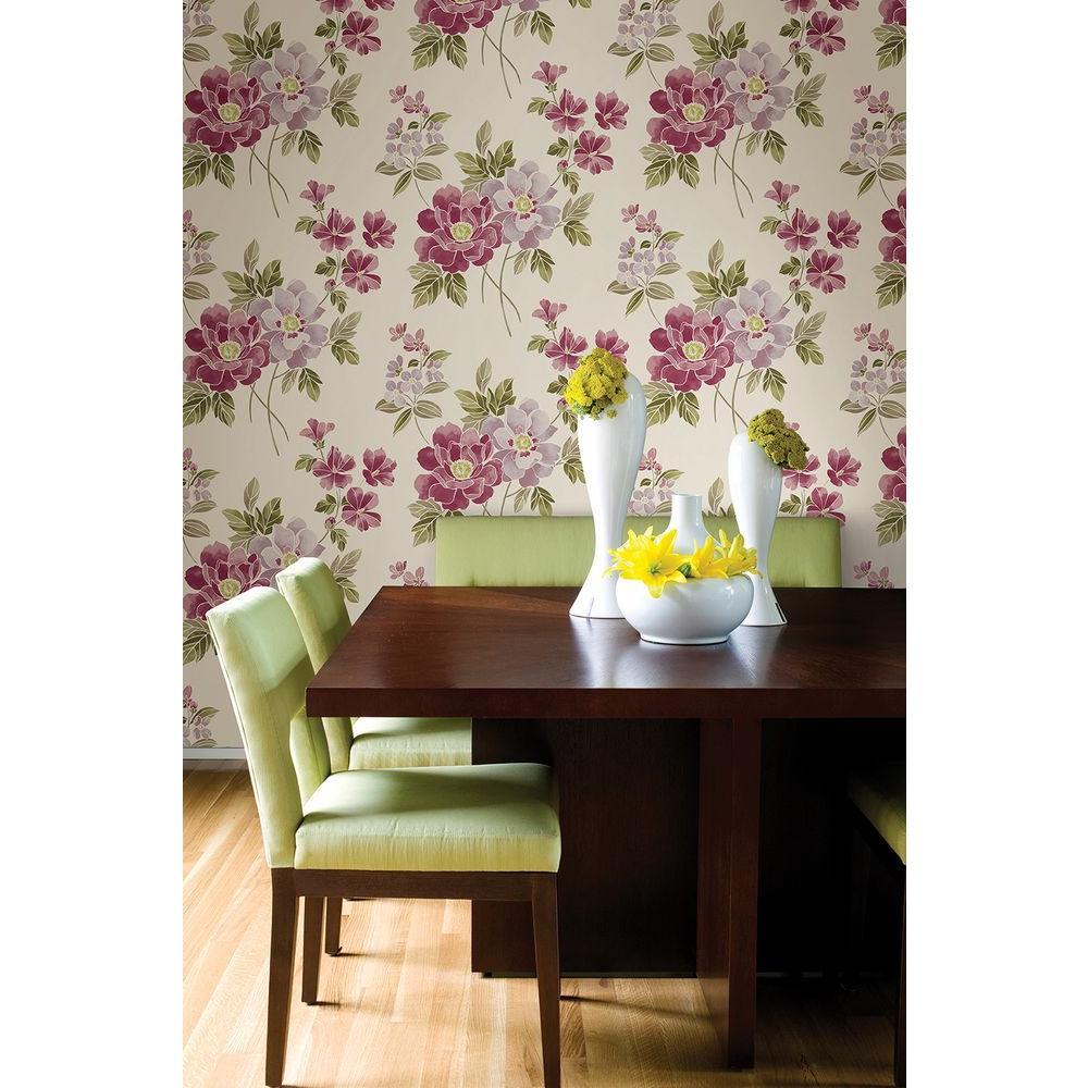 Claressa Pink Floral Wallpaper Sample