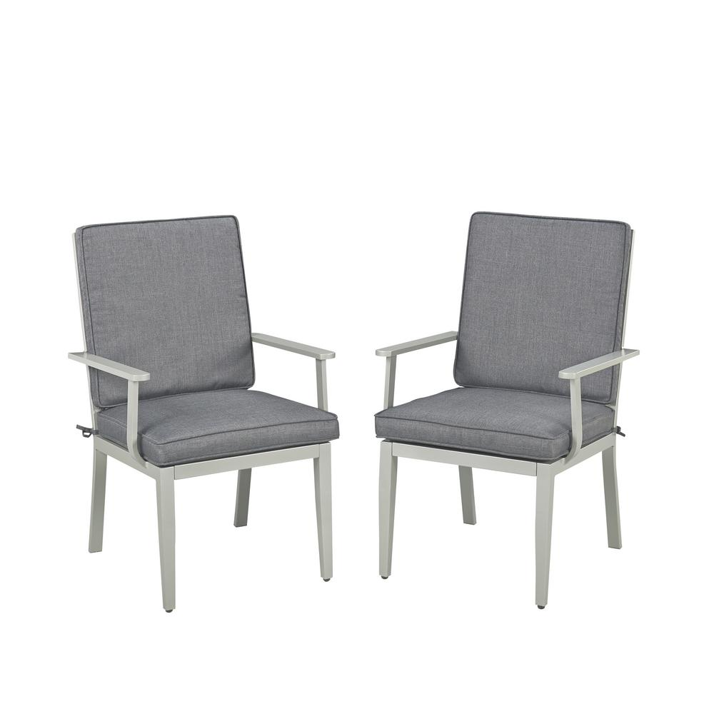 South Beach Gray Stationary Extruded Aluminum Outdoor Dining Arm Chair With  Charcoal Gray Cushion (Pack