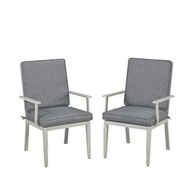 South Beach Gray Stationary Extruded Aluminum Outdoor Dining Arm Chair with Charcoal Gray Cushion (Pack of 2)