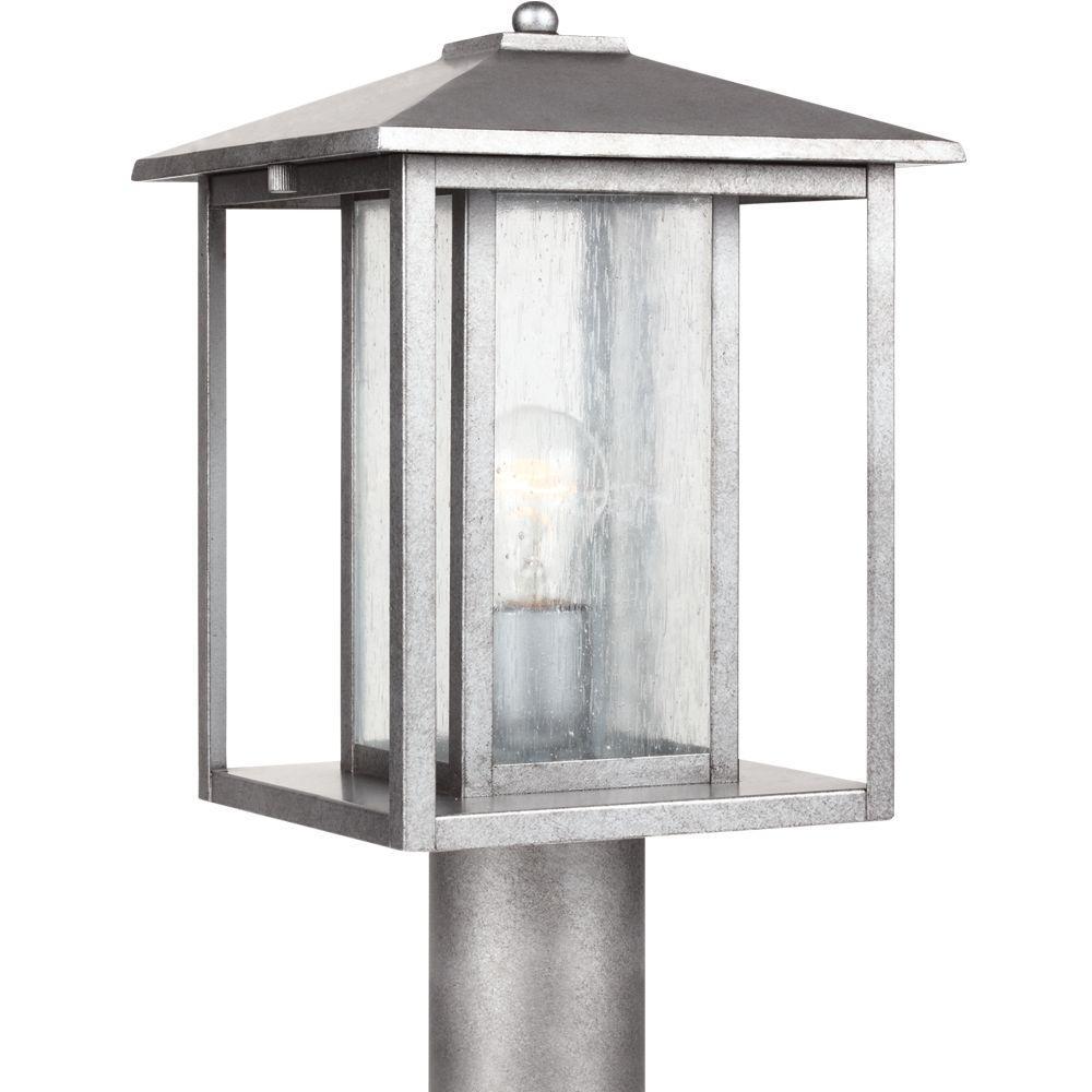 Sea Gull Lighting Hunnington 1-Light Weathered Pewter Outdoor Post Top