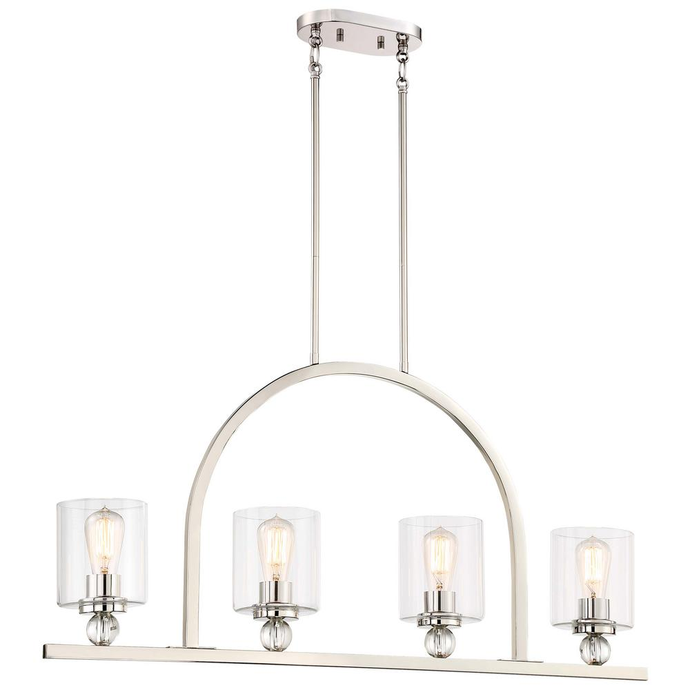 Minka lavery lighting the home depot studio 5 collection 4 light polished nickel finish pendant light with clear arubaitofo Choice Image