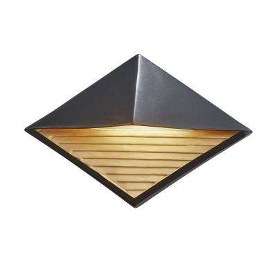 Ambiance Diamond Carbon Matte Black with Champagne Gold Internal Outdoor Integrated LED Sconce