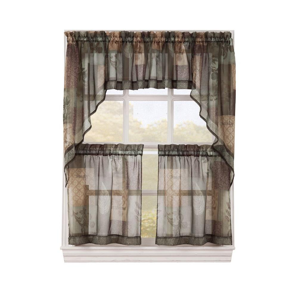 LICHTENBERG Sheer Sage Green Eden Printed Textured Sheer Kitchen Curtain  Tiers, 56 in. W x 24 in. L