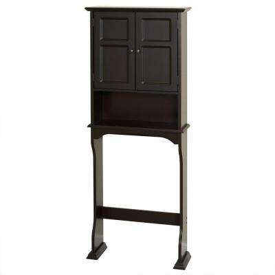 Collette 25-1/2 in. W x 64-1/5 in. H x 8-1/2 in. D 2-Door Over the Toilet Storage Cabinet in Espresso