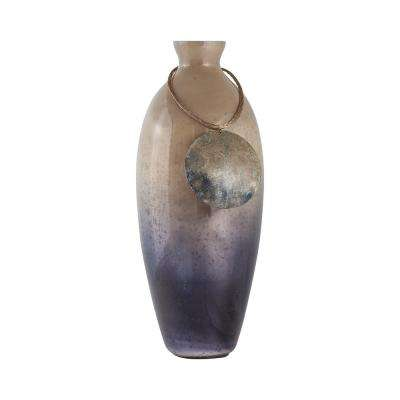Cuzco 18 in. Glass Decorative Vase in Fire Clay Finish