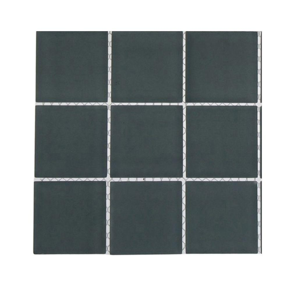 Contempo Blue Gray Frosted Glass Tile - 3 in. x 6