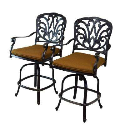 Hampton Aluminum Patio Bar Stool with Sunbrella Dark Brown Cushion (2-Pack)