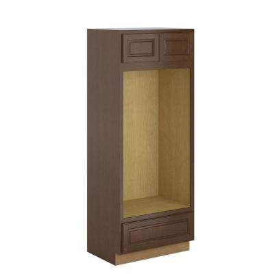 Madison Assembled 33x84x24 in. Pantry/Utility Double Oven Cabinet in Cognac