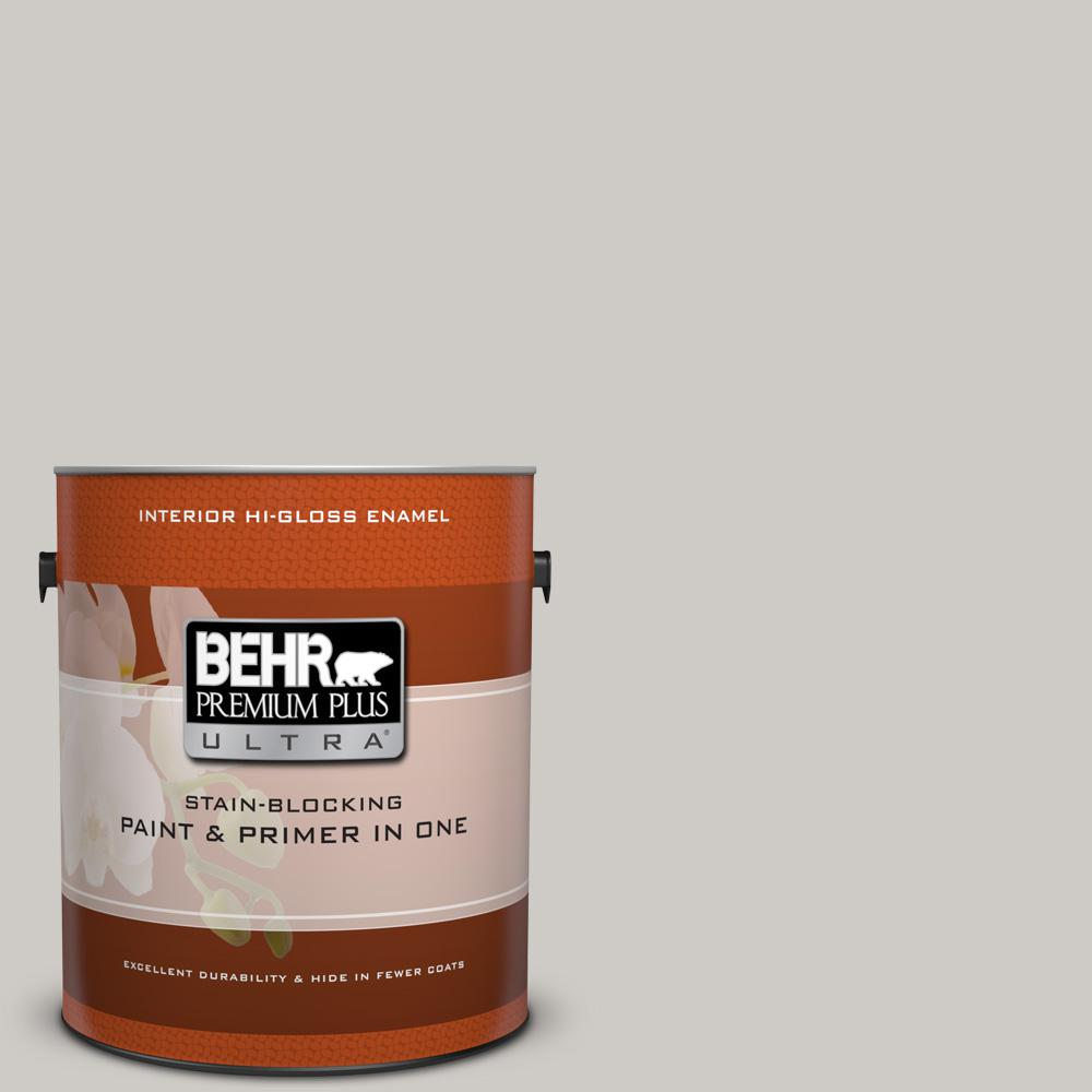 BEHR Premium Plus Ultra 1 gal. #PPU26-10 Chic Gray Hi-Gloss Enamel Interior Paint and Primer in One