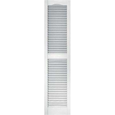 15 in. x 64 in. Louvered Vinyl Exterior Shutters Pair in #001 White