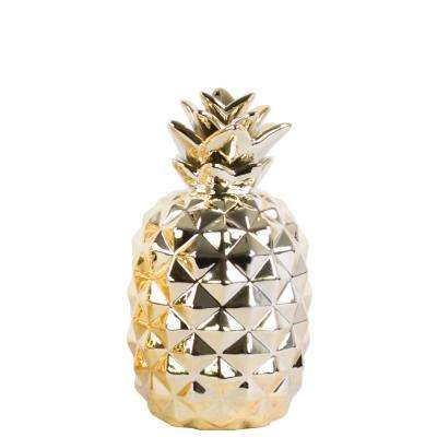 11.5 in. H Pineapple Decorative Figurine in Gold Polished Chrome Finish