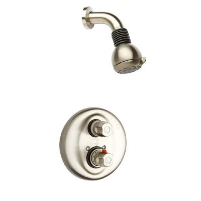 Water Harmony 2-Handle 2-Spray Shower Faucet with Thermostatic Valve & Volume Control in Brushed Nickel (Valve Included)