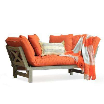 Tulle Wood Outdoor Convertible Sofa Daybed with Brick Red Cushion