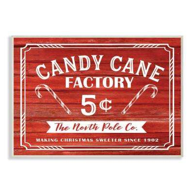 "12.5 in. x 18.5 in. ""Candy Cane Factory Vintage Sign"" by Lettered and Lined Printed Wood Wall Art"
