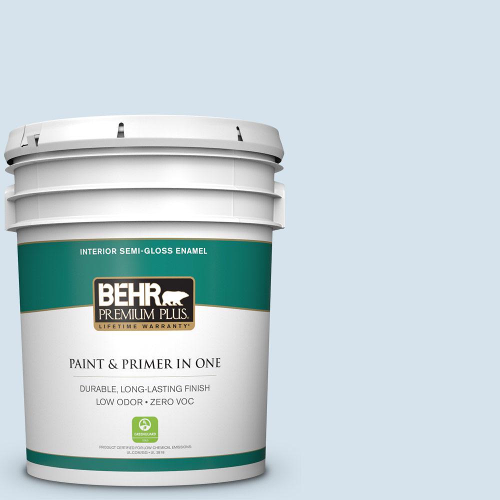 BEHR Premium Plus 5-gal. #560C-1 Rain Water Zero VOC Semi-Gloss Enamel Interior Paint
