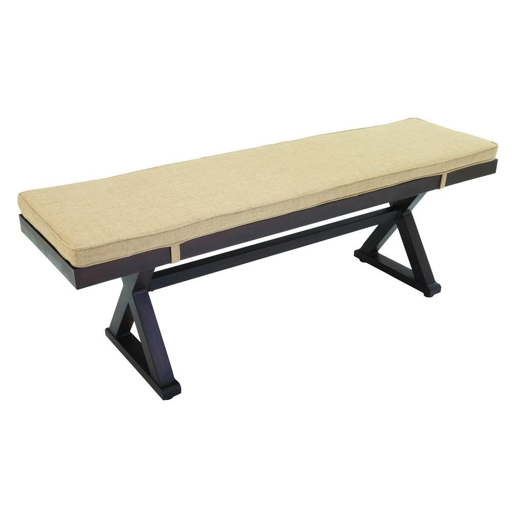 Exceptional Hampton Bay Woodbury Wood Outdoor Patio Bench With Textured Sand  Cushion DY9127 BENCH   The Home Depot