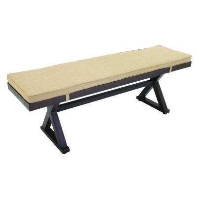 Woodbury Wood Outdoor Patio Bench with Textured Sand Cushion