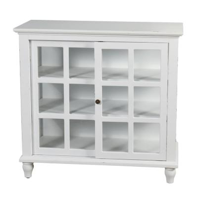 Archer Ridge Distressed White Sliding Door Cabinet