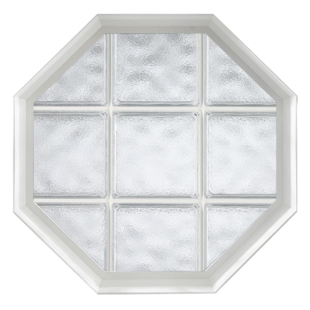 Hy-Lite 26 in. x 26 in. Acryilc Block Fixed Octagon Vinyl Window - White