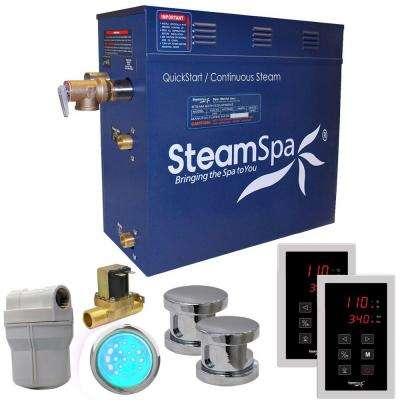 Royal 10.5kW QuickStart Steam Bath Generator Package with Built-In Auto Drain in Polished Chrome