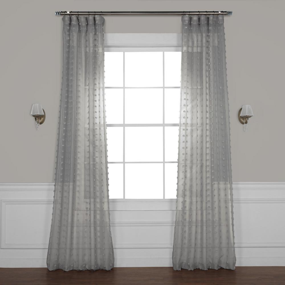 Strasbourg Dot Grey Patterned Linen Sheer Curtain - 50 in. W x 108 in. L