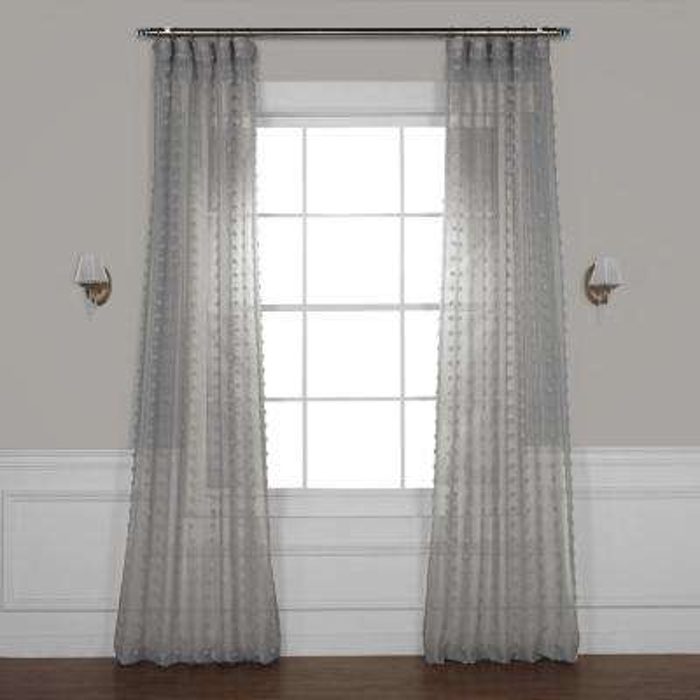 Strasbourg Dot Grey Patterned Linen Sheer Curtain - 50 in. W x 84 in. L