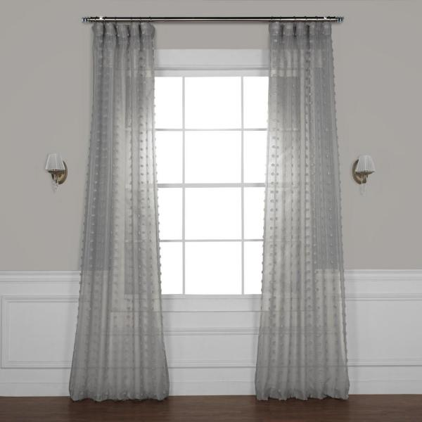 Strasbourg Dot Grey Patterned Linen Sheer Curtain - 50 in. W x 96 in. L