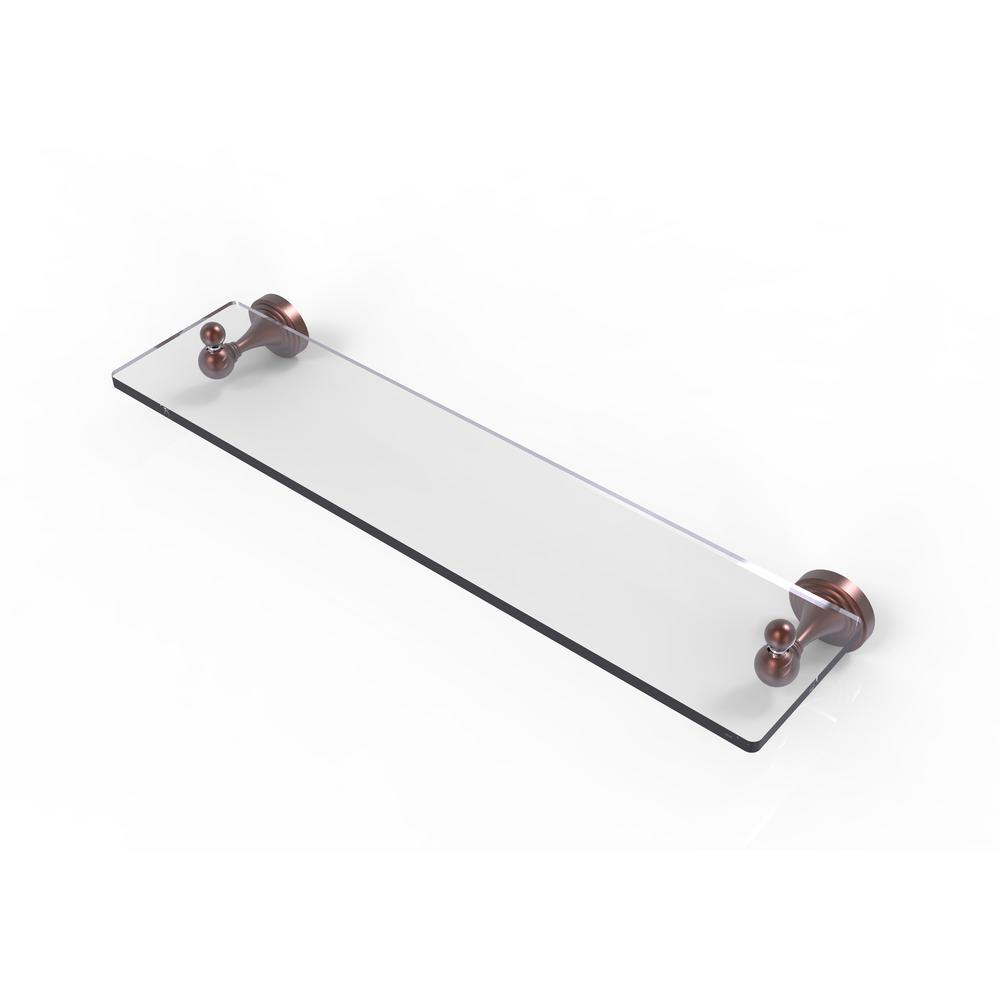 Allied Brass Shadwell Collection 22 in. W  Glass Vanity Shelf with Beveled Edges in Antique Copper