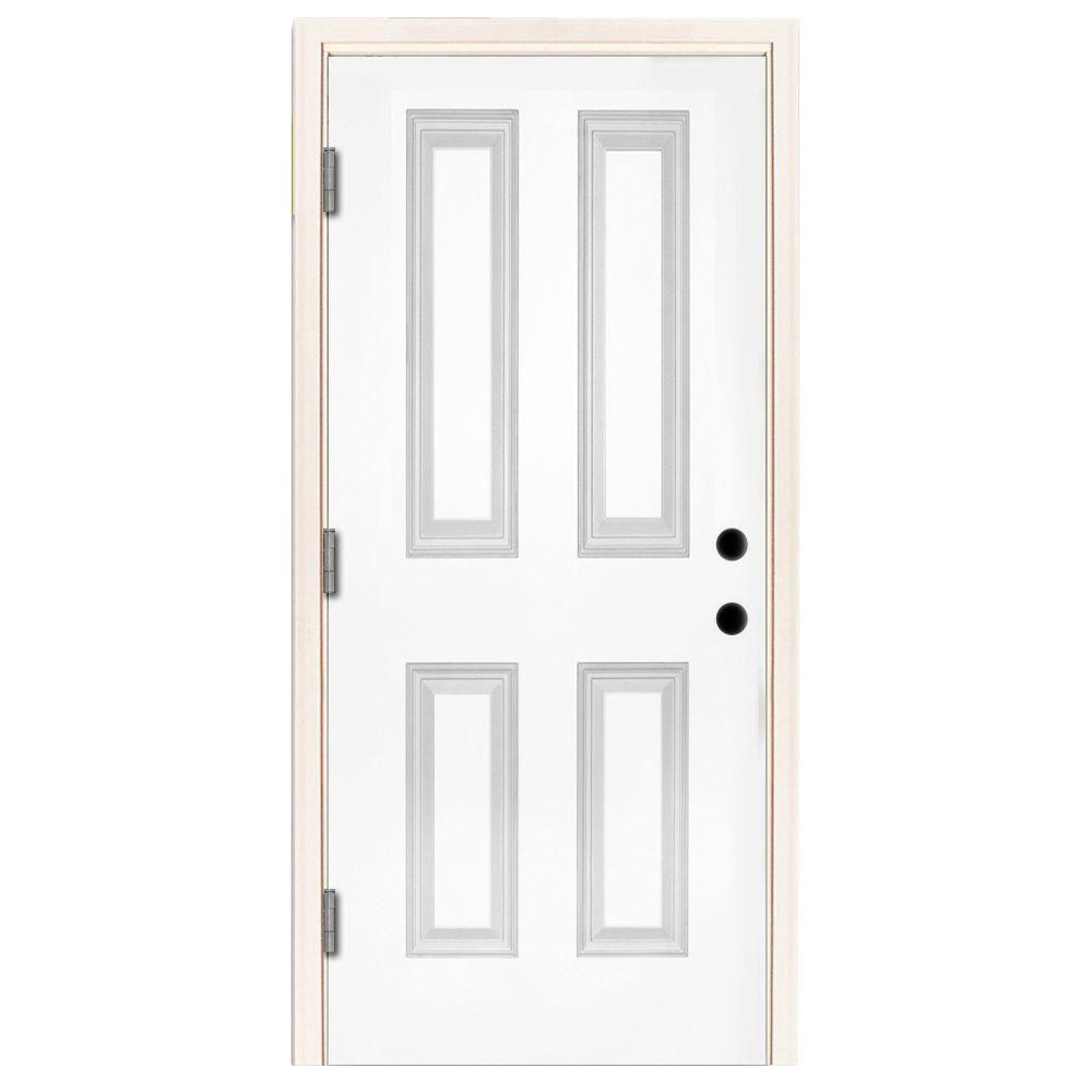 Steves & Sons 32 in. x 80 in. Premium 4-Panel Primed White Steel Prehung Front Door