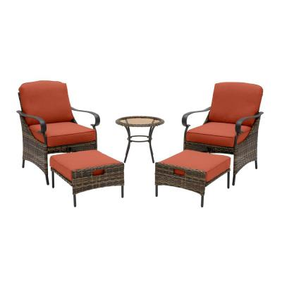 Layton Pointe 5-Piece Brown Wicker Outdoor Patio Conversation Seating Set with CushionGuard Quarry Red Cushions
