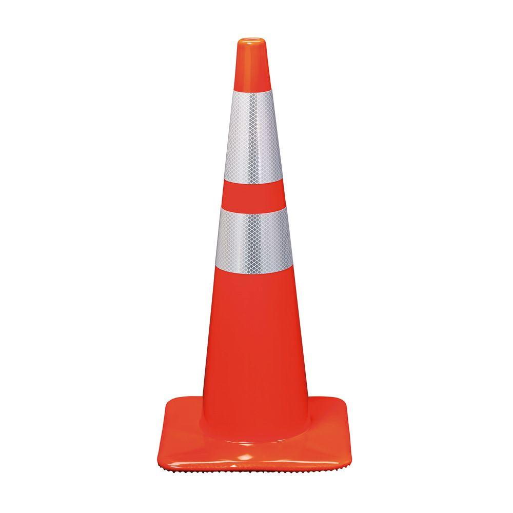 3M 28 in. Orange Reflective Traffic Safety Cone-90129-R ...