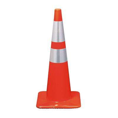 28 in. Orange Reflective Traffic Safety Cone (Case of 6)