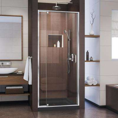 flex 32 in to 36 in x 72 in framed pivot shower door in chrome