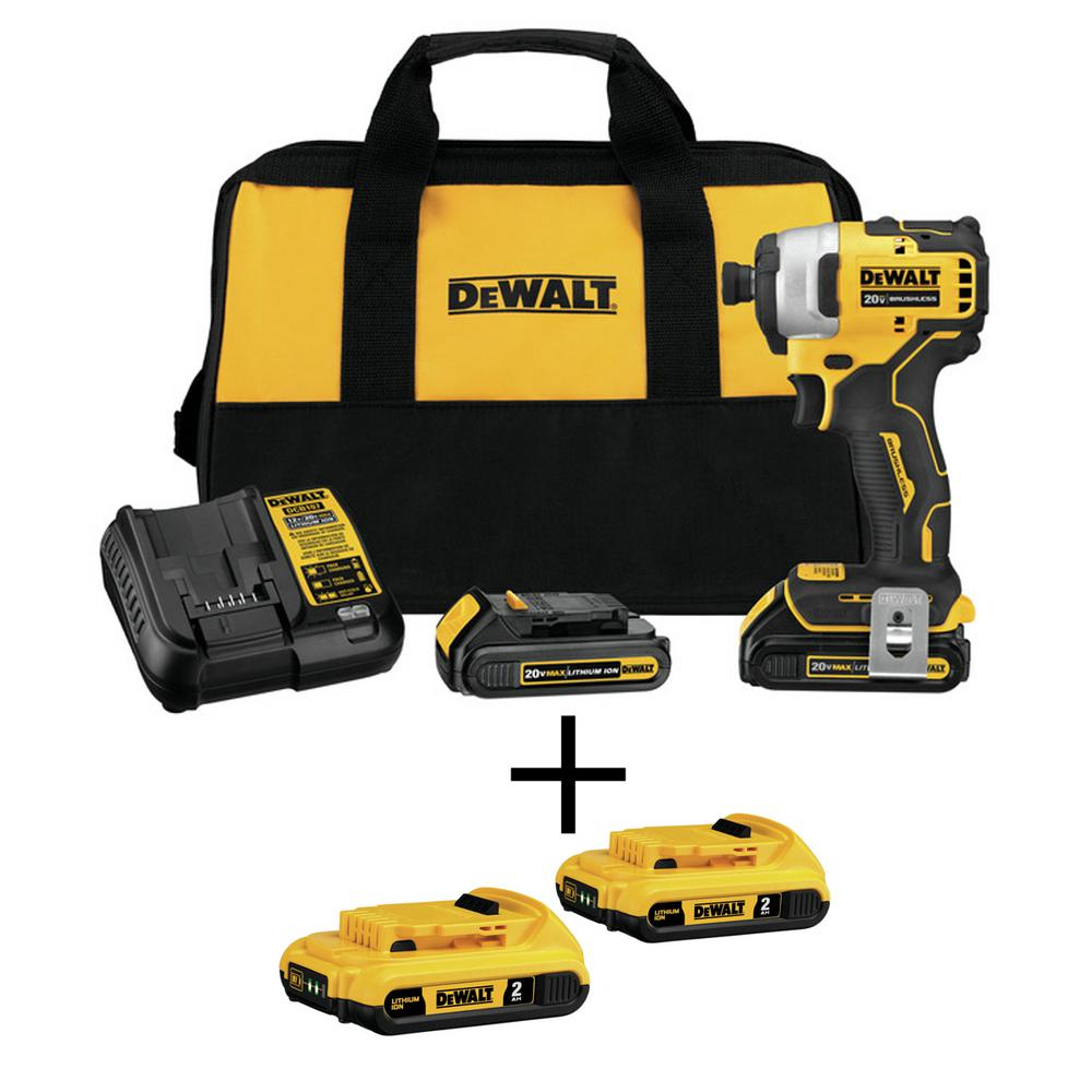 DEWALT ATOMIC 20-Volt MAX Li-Ion Brushless Cordless Compact 1/4 in. Impact Driver w/Bonus 20-V Li-Ion Battery 2.0Ah (2-Pack)