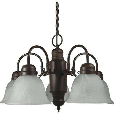 Mike 5-Light Dark Brown Chandelier with Glass Shade