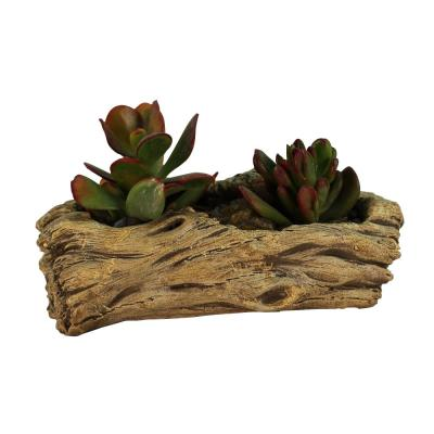7 in. x 3.75 in. x 2.5 in. Hazel Ceramic Driftwood Knotted Log Planter