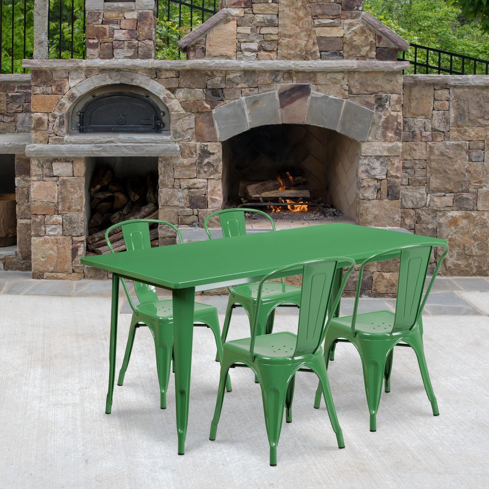 Green 5-Piece Metal Rectangle Outdoor Bistro Set