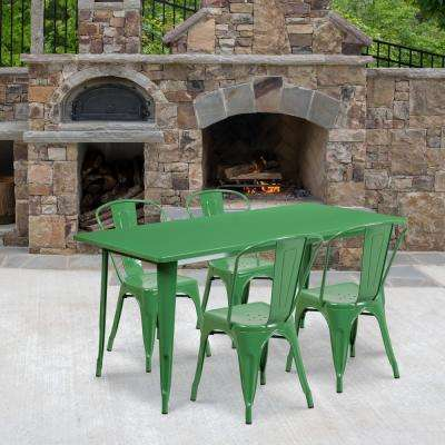 Green 5-Piece Metal Rectangle Outdoor Bistro Set
