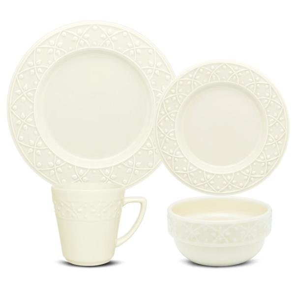 Mendi Ivory 32-Piece Casual Ivory Earthenware Dinnerware Set (Service for 8)