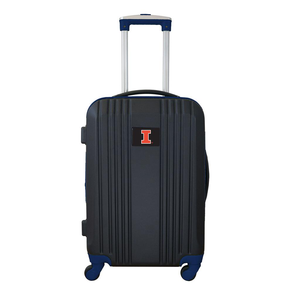 NCAA Illinois 21 in. Navy Hardcase 2-Tone Luggage Carry-On Spinner Suitcase