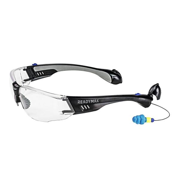 Soundshield Construction Safety Glasses Black Frame Clear Lens With Nrr 25 Db Silicone Permaplugs Glcnb Cl The Home Depot