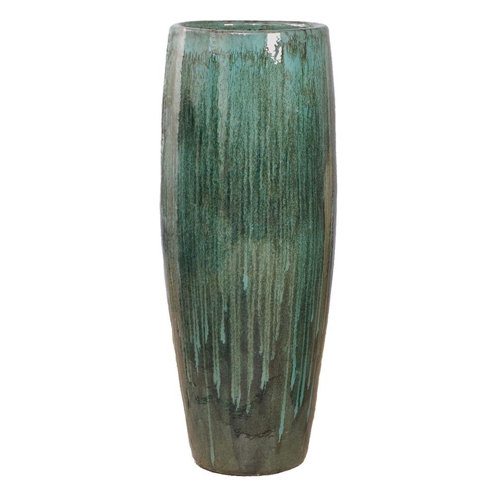47 in. Round Teal Ceramic Cigar Jar/Planter
