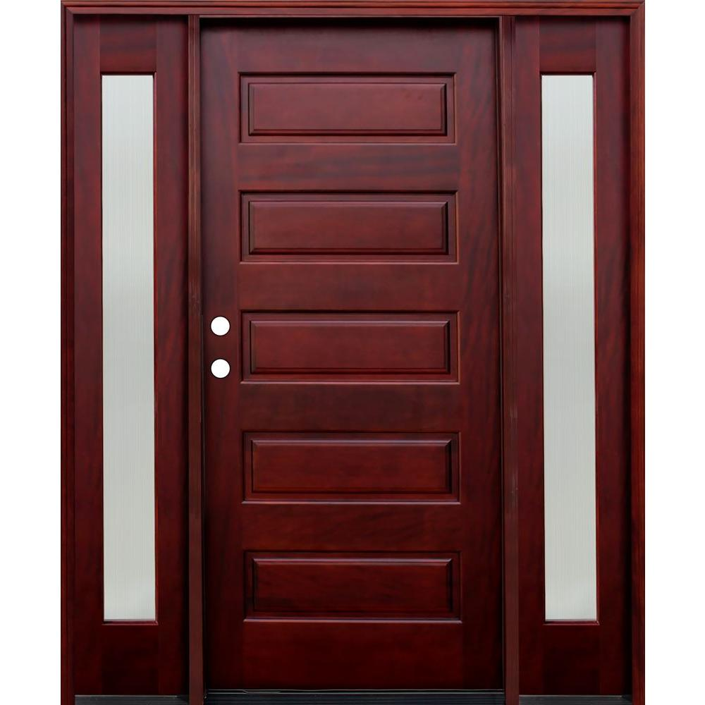 Pacific Entries 70 in. x 80 in. 5-Panel Stained Mahogany Wood Prehung Front Door w/ 6 in. Wall Series & 12 in. Reed Sidelites