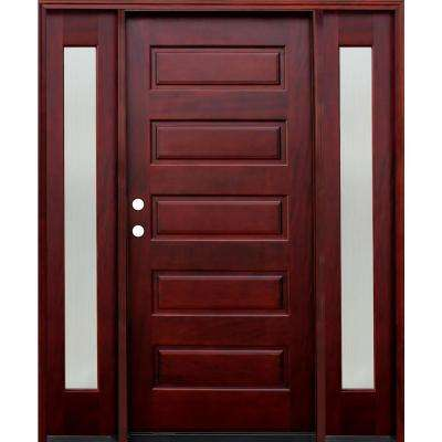 70 in. x 80 in. 5-Panel Stained Mahogany Wood Prehung Front Door w/ 6 in. Wall Series & 14 in. Reed Sidelites